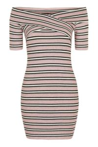 PETITE Striped Bardot Bodycon Dress $50.00 |BUY HERE|