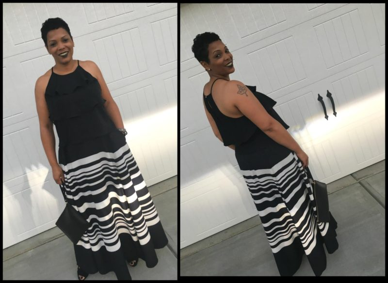Talana Coleman is wearing lack, Ruffled sleeveless versona blouse Maxi black and white skirt Michael Kors black stilettos Ralph Lauren black wristlet Assessories - Michael Kors watch and Alex and Ani beaded wrap bracelets